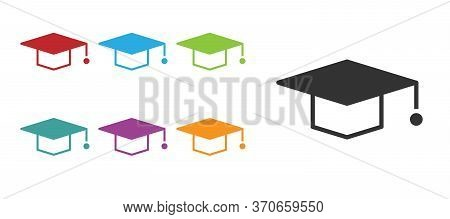 Black Graduation Cap Icon Isolated On White Background. Graduation Hat With Tassel Icon. Set Icons C