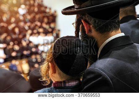 Orthodox Pilgrims Of Hasidim Listen To Their Rabbi.