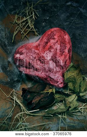closeup of a bloody heart an a dry rose on a dismal scenery