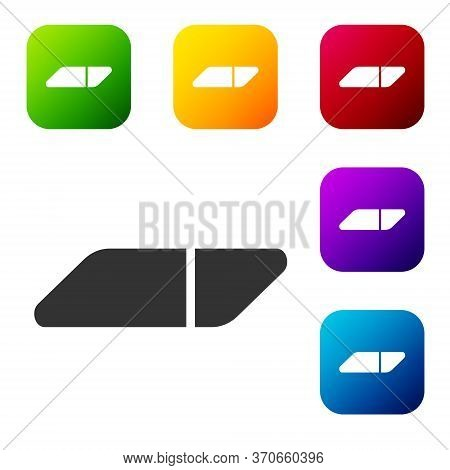 Black Eraser Or Rubber Icon Isolated On White Background. Set Icons In Color Square Buttons. Vector