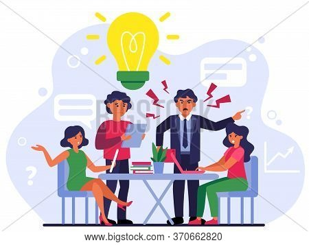 Aggressive Boss Scolding Upset Employees. Angry Boss, Mistakes, Error, Stress At Work Flat Vector Il