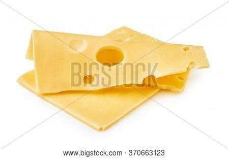 Cheese Slices Isolated On White Background. Maasdam Cheese.