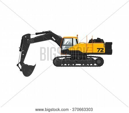 Digger Hydraulic Excavator With Dipper Isolated On White Background, Illustration