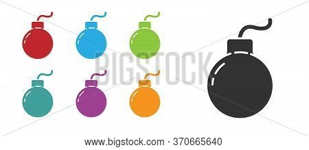 Black Bomb Ready To Explode Icon Isolated On White Background. Set Icons Colorful. Vector