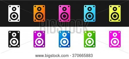 Set Stereo Speaker Icon Isolated On Black And White Background. Sound System Speakers. Music Icon. M