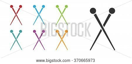 Black Knitting Needles Icon Isolated On White Background. Label For Hand Made, Knitting Or Tailor Sh