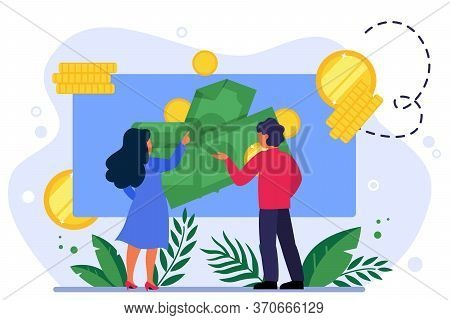 People Analyzing Money On Presentation Board. Marketing Research, Analysis, Accounting Flat Vector I