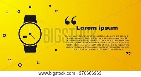 Black Wrist Watch Icon Isolated On Yellow Background. Wristwatch Icon. Vector