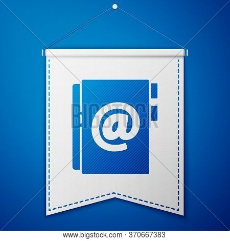 Blue Address Book Icon Isolated On Blue Background. Notebook, Address, Contact, Directory, Phone, Te