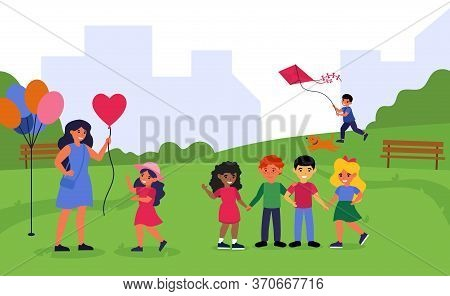 Teacher Spending Time With Preschoolers In Park. Woman And Children Walking Together Outdoors Flat V