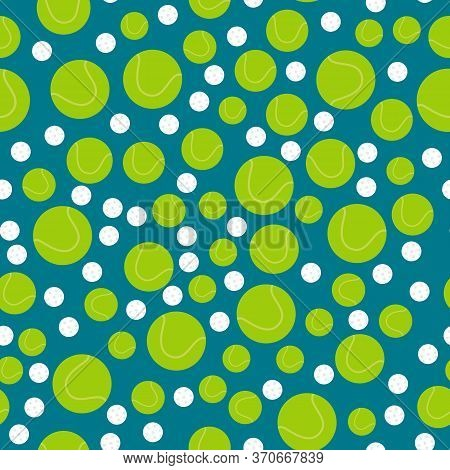 Tennis And Golf Balls On Blue Background, Vector Seamless Pattern. Sports Inventory Backdrop. Trendy