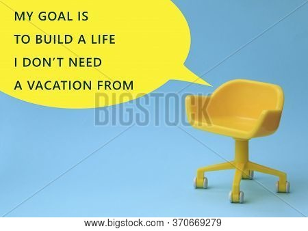 Concept Of Vacant Chair. Yellow Stool On Blue Clean Background. Photo In Minimal Style.