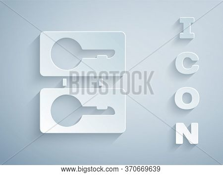 Paper Cut Metal Mold Plates For Casting Keys Icon Isolated On Grey Background. Set For Mass Producti