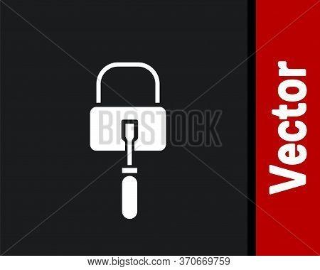 White Lockpicks Or Lock Picks For Lock Picking Icon Isolated On Black Background. Vector