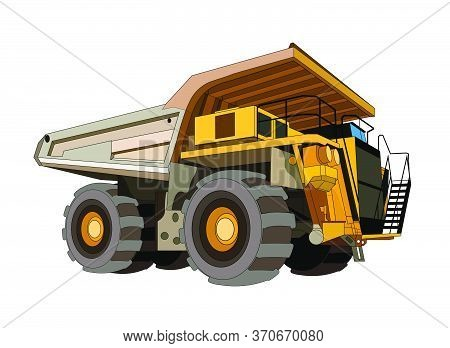 Heavy Construction Equipment Dump Mining Truck In Yellow Black. Industrial Machinery And Equipment.