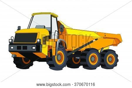 Black And Yellow Construction Dump Truck. Industrial Machinery And Equipment. Isolated Vector On Whi