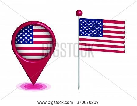 Drop Checkpoint And A Pin With The American Flag To Indicate On The Map Of The United States. Gps Na