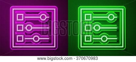 Glowing Neon Line Car Settings Icon Isolated On Purple And Green Background. Auto Mechanic Service.