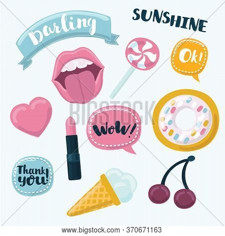 Fashion Patch Badges With Lips, Hearts, Speech Bubbles, Stars And Other Elements. Vector Illustratio