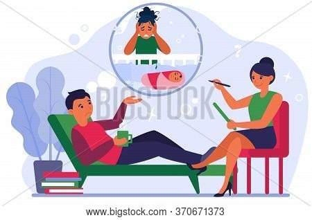 Man Talking To Psychotherapist About Post Natal Depression Of Wife. Man In Psychiatrist Office Flat