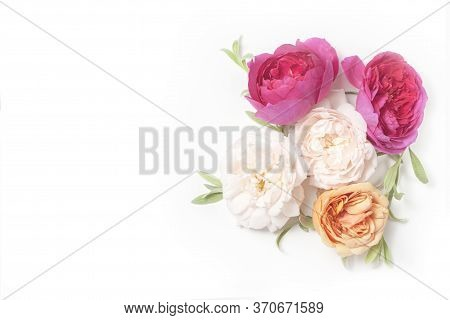Flower Invite Card For Wedding, Save Date, Thank You, Business. Floral Mocup Card. Pink Flowers. Top