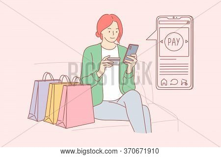 Shopping, Technology, Quarantine Concept. Young Happy Woman Girl Cartoon Character Buying Clothes Fo