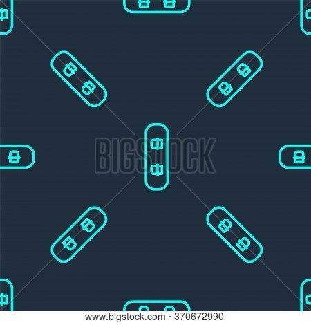 Green Line Snowboard Icon Isolated Seamless Pattern On Blue Background. Snowboarding Board Icon. Ext