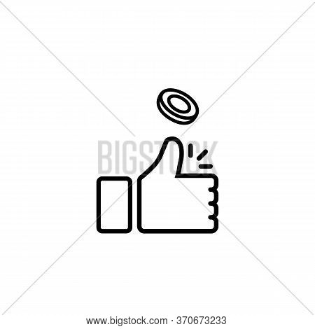Coin Flipping Icon Line. Toss Or Flip A Coin Or Thumb Up On Isolated White Background. Eps 10 Vector