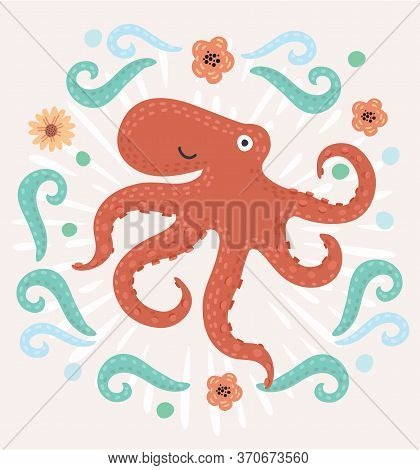 Octopus. Vector Illustration Octopus On White Background