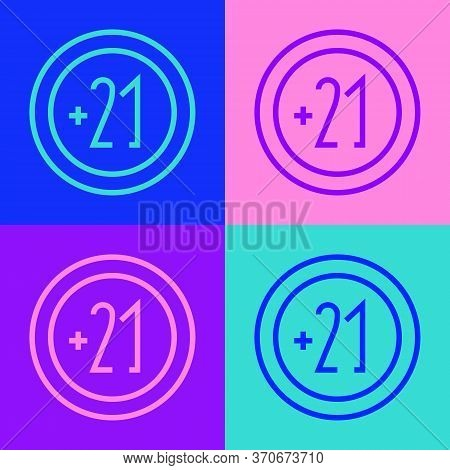 Pop Art Line Alcohol 21 Plus Icon Isolated On Color Background. Prohibiting Alcohol Beverages. Vecto