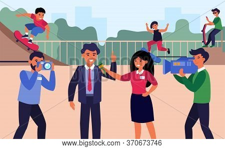 Newscasters Interviewing Businessman Or Politician. Reporters, Correspondent, Playground Flat Vector