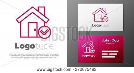 Logotype Line House With Check Mark Icon Isolated On White Background. Real Estate Agency Or Cottage