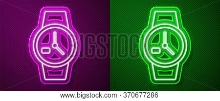 Glowing Neon Line Wrist Watch Icon Isolated On Purple And Green Background. Wristwatch Icon. Vector
