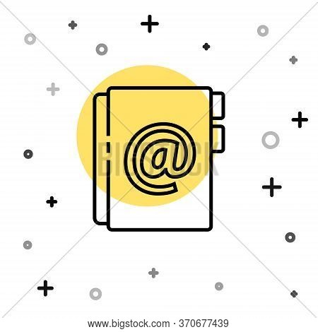 Black Line Address Book Icon Isolated On White Background. Notebook, Address, Contact, Directory, Ph
