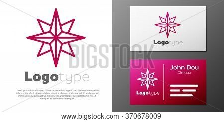 Logotype Line Wind Rose Icon Isolated On White Background. Compass Icon For Travel. Navigation Desig