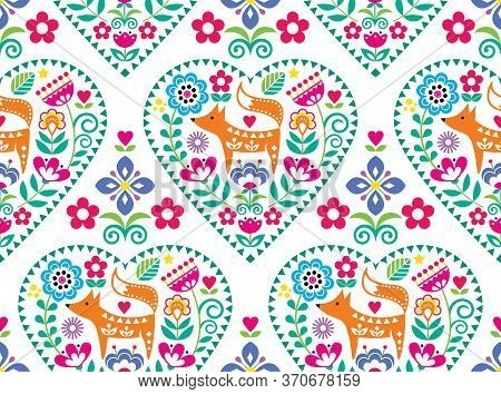 Scandinavian Or Nordic Heart Folk Art Vector Seamless Pattern With Flowers And Fox, Floral Textile D
