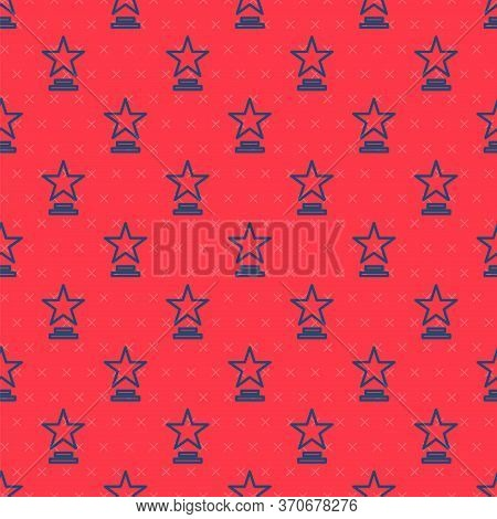 Blue Line Movie Trophy Icon Isolated Seamless Pattern On Red Background. Academy Award Icon. Films A