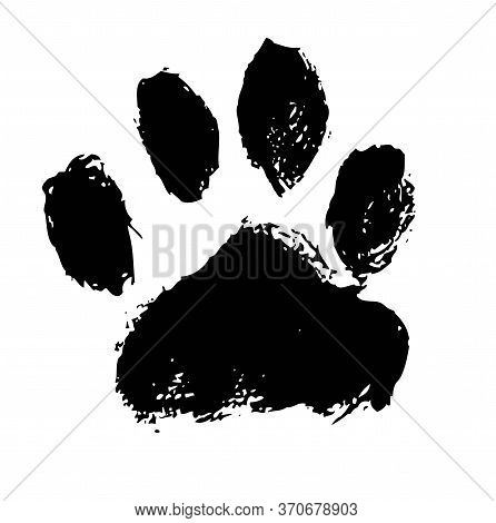 Ink Dog Paw Illustration, Cat Paw. Print Vector