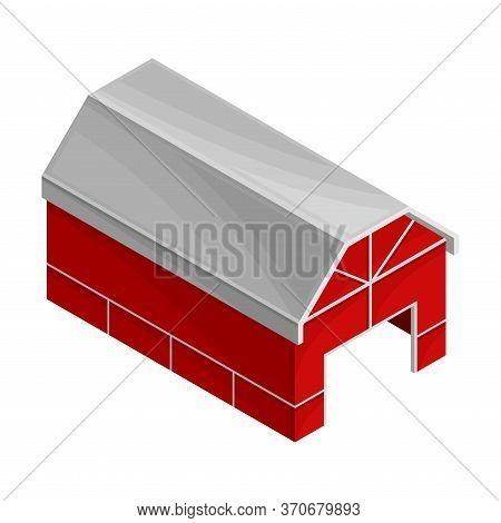 Red Barn Or Granary For Hay And Crop Storage Vector Isometric Illustration