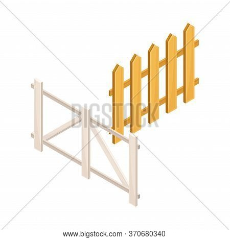 Fence Or Hedge As Agricultural And Farming Construction For Separation Vector Isometric Illustration