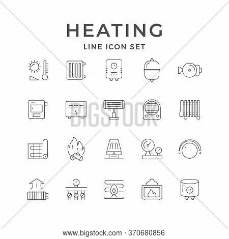 Set Line Icons Of Heating Isolated On White. Radiator, Electric Or Gas Boiler, Warm Electric Floor,