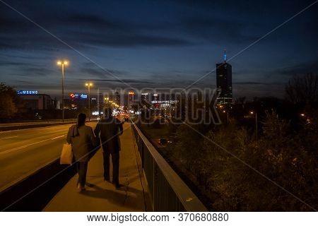 Belgrade, Serbia - November 11, 2014: Pedestrians Walking Towards Usce Shopping Center And Its Tower