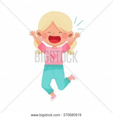 Emoji Girl With Ponytails Jumping Feeling Happiness And Excitement Vector Illustration