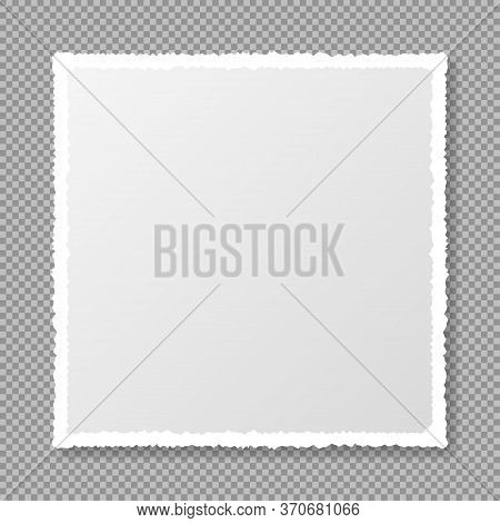 Piece Of Torn, White Realistic Square Paper Strip With Soft Shadow Is On Squared Transparent Backgro
