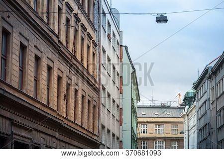 Facade Of Old Residential Buildings From The 1930's In The City Center Of Prague, Czech Republic, Us