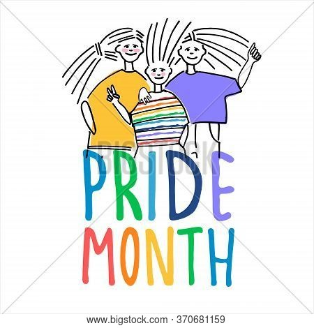 Happy Pride Month Greeting Design. Sexual Diversity Celebration Concept. Cheerful People Celebrating