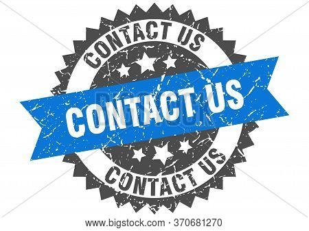 Contact Us Grunge Stamp With Blue Band. Contact Us