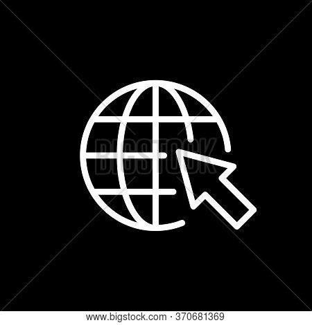 Globe And Arrow Line Outline Icon Isolated On Black. World Wide Web Concept. Vector Illustration