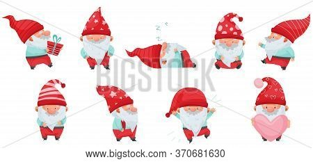Fantastic Gnome Character With White Beard And Red Pointed Hat Vector Illustration Set