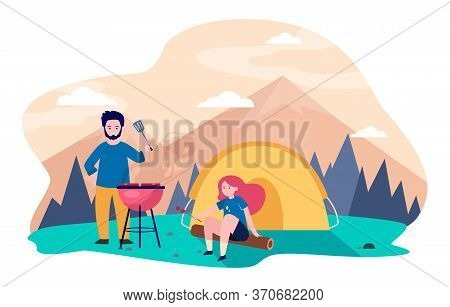 Young Couple Camping At Mountains. Tent, Barbeque, Nature Flat Vector Illustration. Summer Vacation
